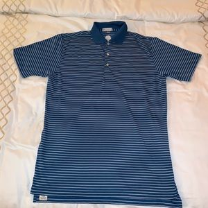 Peter Millar blue and purple striped golf polo L